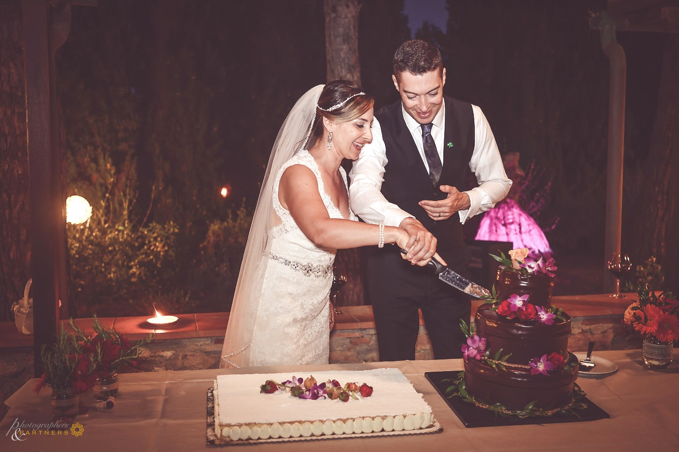 Cutting of two wedding cakes 🍰 🍰