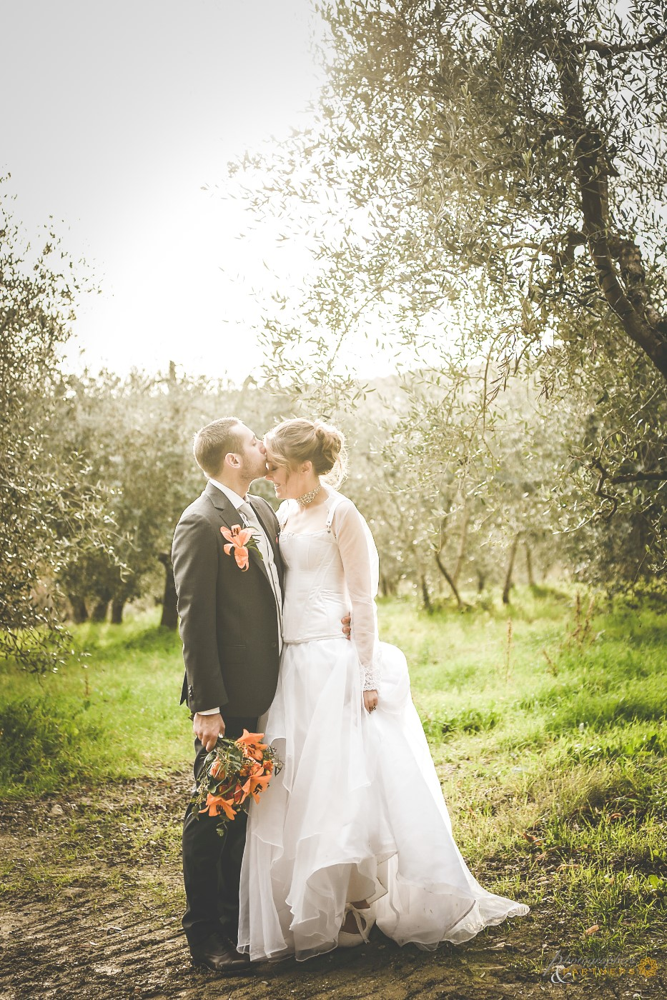 A romantic kiss among the olive trees