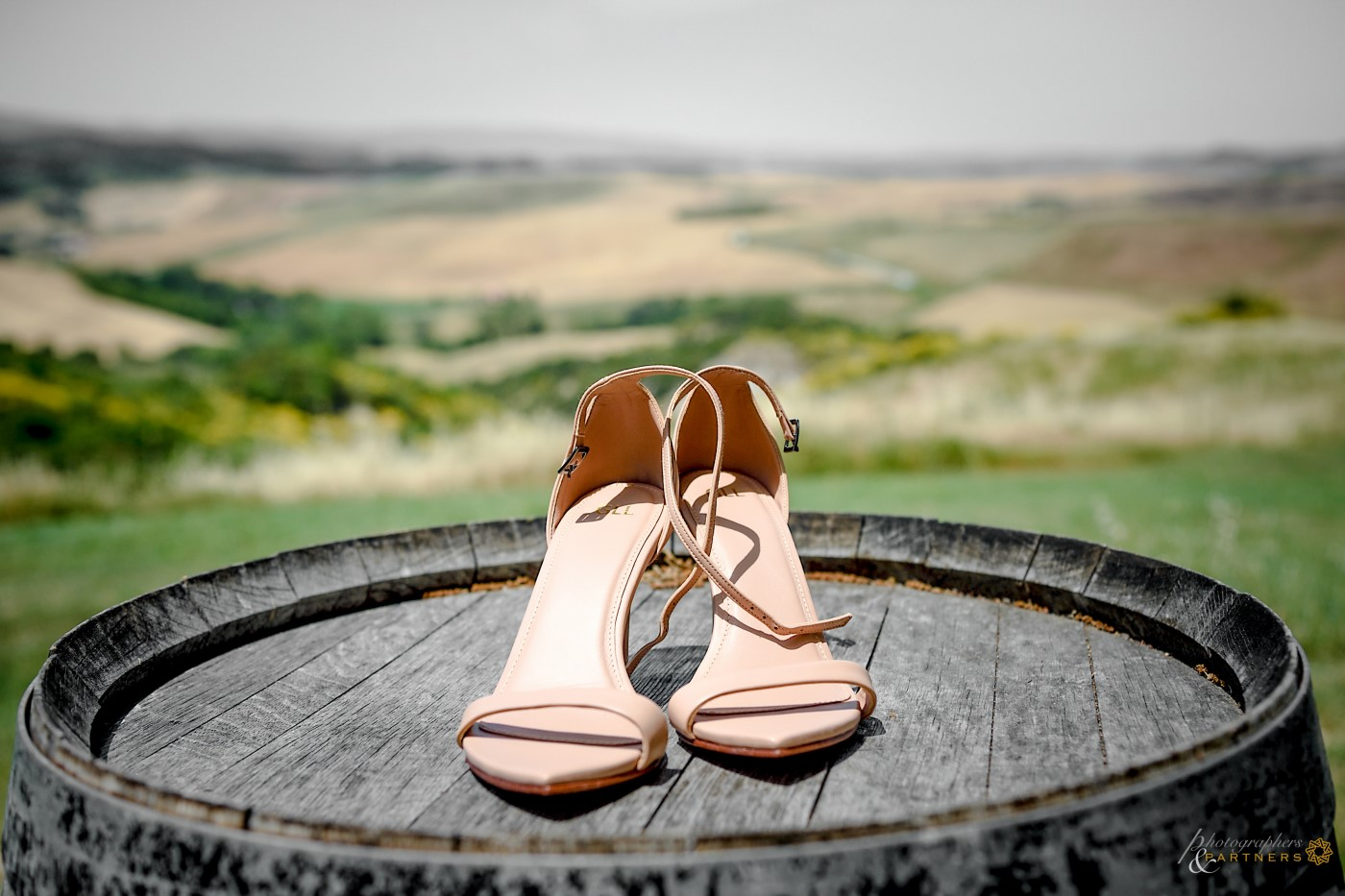 The bride's shoes with a beautiful background.