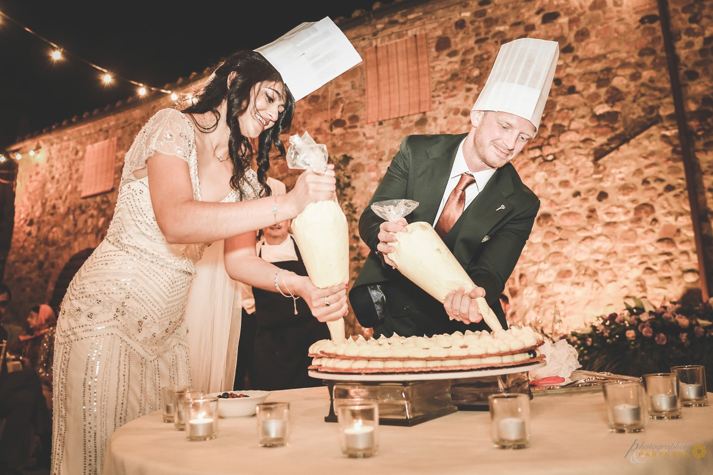 Wedding cake under construction.