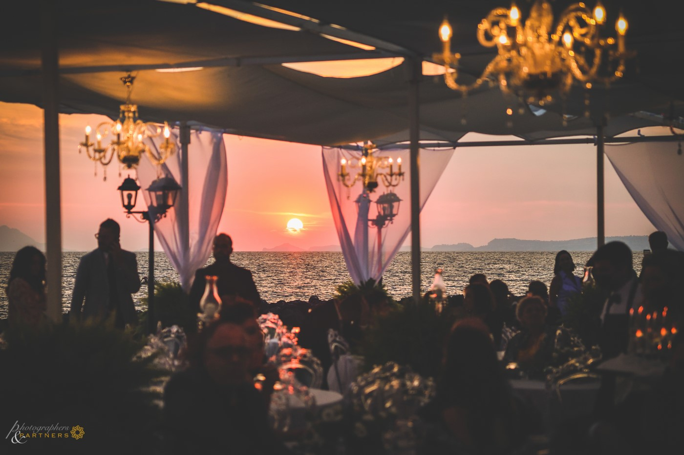 The spectacular sunset seen from the terrace.